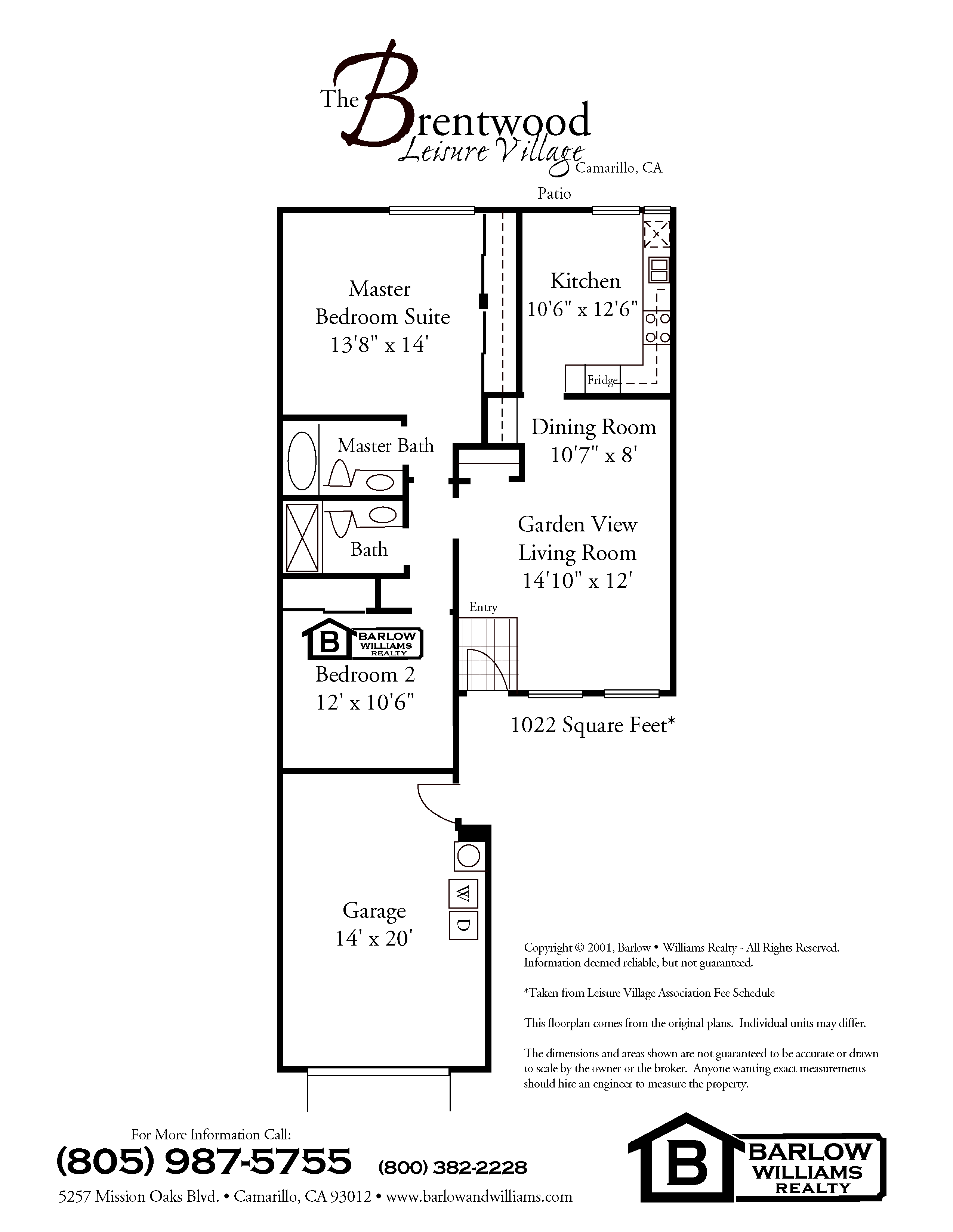 Leisure village camarillo floor plans for Brentwood house plan